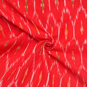 Red-White and Green Unique Pattern Ikat Fabric-12011
