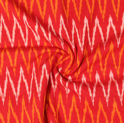 Red White and Yellow Ikat Cotton Fabric-11041