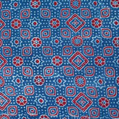 Red-Whtie and Sky Blue Ajrakh Flower Fabric-4199