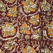 Red Yellow Beige and Blue Floral Patterm Cotton Kalamkari Fabric