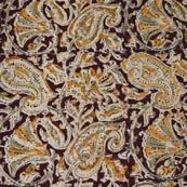 Red Yellow Beige and Green Floral Patterm Cotton Kalamkari Fabric
