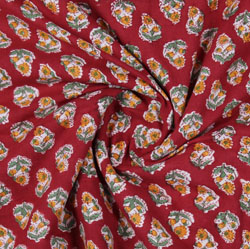 Red Yellow Block Print Cotton Fabric-16100