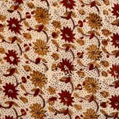 Red Yellow and Cream Floral Pattern Kalamkari Cotton Fabric by the yard