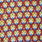 Red Yellow and Green Unique Shape Hand Block Print Fabric