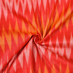 Red Yellow and White Ikat Cotton Fabric-11088