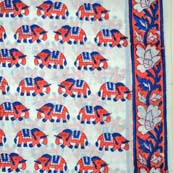 Red and Blue Elephant Block Print Cotton Fabric with Flower Print Side Border