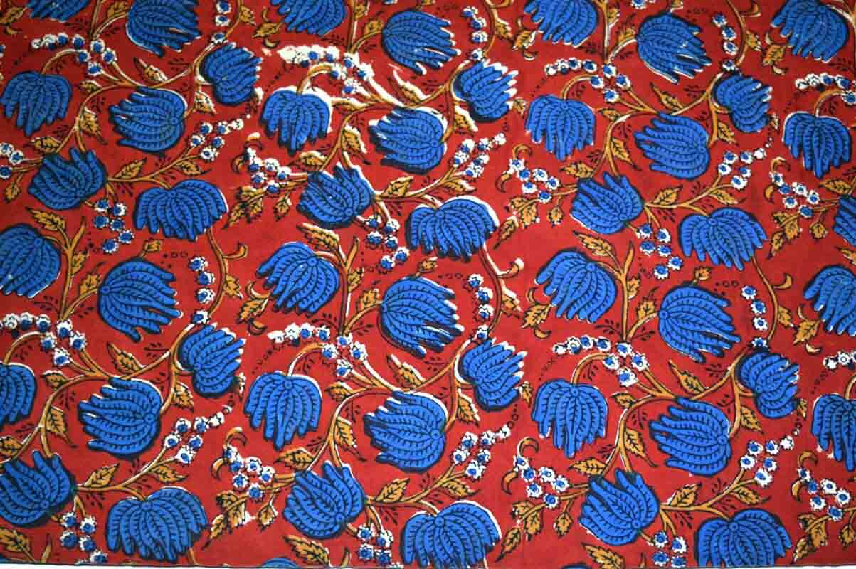 Red and Blue Floral Leaves Kalamkari Pattern Cotton Fabric