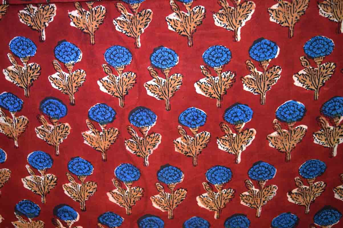 Red and Blue Kalamkari Pattern Work Cotton Fabric by the Yard