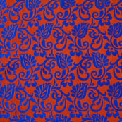 Red and Blue leaf-flower brocade silk fabric-4623
