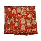 Red and Cream Manipuri Silk Fabric-16307