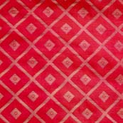 Red and Gold Triangle Shapes Design Brocade Silk Fabric by the yard