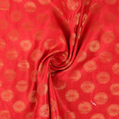 Red and Golden Brocade Silk Fabric-8865