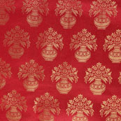 Red and Golden Brocade Silk Fabric-8884