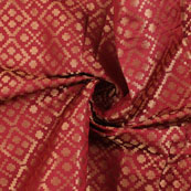 Red and Golden Brocade Silk Fabric-8906