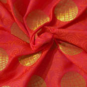 Red and Golden Circular Pattern Brocade Silk Fabric-8041