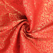 Red and Golden Floral Brocade Silk Fabric-8908