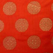 Red and Golden Floral Circular Pattern Brocade Silk Fabric by the yard