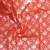 Red and Golden Floral Design Brocade Silk Fabric-8324