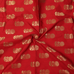 Red and Golden Floral Design Brocade Silk Fabric-8362