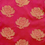 Red and Golden Flower Brocade Silk Fabric by the yard