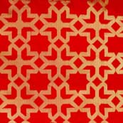 Red and Golden Flower Design Brocade Silk Fabric by the yard