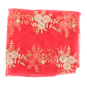 Red and Golden Flower Embroidery Net Fabric-60884