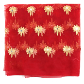 Red and Golden Flower Embroidery Net Fabric-60893