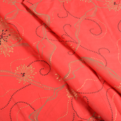 Red and Golden Flower Jam Cotton Silk Fabric-75153