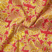 Red and Golden Flower Pattern Brocade Silk Fabric-8022