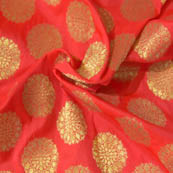 Red and Golden Flower Pattern Brocade Silk Fabric-8035