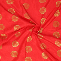 Red and Golden Flower Pattern Brocade silk Fabric-8353