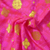 Red and Golden Flower Shape Brocade Silk Fabric-8029