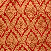 Red and Golden Heavy Zari Work Brocade Silk Fabric by the yard
