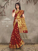 Red and Golden Leaf Banarasi Silk Saree With Unstitched Blouse Piece-7628