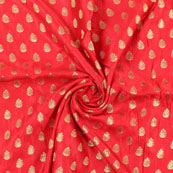 Red and Golden Leaf Brocade Silk Fabric-8888