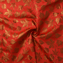 Red and Golden Leaf Design Silk Brocade Fabric-8364