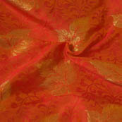 Red and Golden Leaf Pattern Brocade Silk Fabric-8060