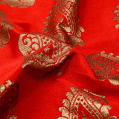 Red and Golden Paisley Pattern Brocade Silk Fabric-5320