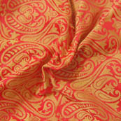Red and Golden Paisley Pattern Brocade Silk Fabric-8023