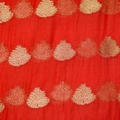 Red and Golden Tree Pattern Chiffon Fabric-4352