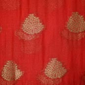 Red and Golden Tree Pattern Chiffon Indian Fabric-4348