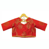 Red and Golden Tree Silk Brocade Blouse-30119