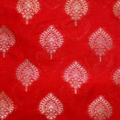 Red and Golden Unique Pattern Brocade Indian Fabric-4289
