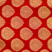 Red and Golden Zari Brocade Silk Fabric by the yard