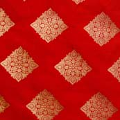 Red and Golden Zari Traingle Pattern Brocade Silk Fabric by the yard