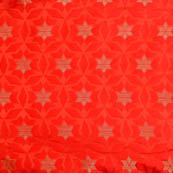 Red and Golden circular star shape brocade silk fabric-5014