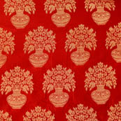 Red and Golden flower pot brocade silk fabric-4640