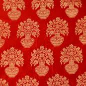 Red and Golden flower pot brocade silk fabric-4640