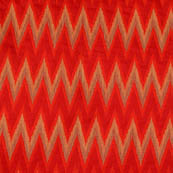 Red and Golden ikat printed chanderi fabric-4610