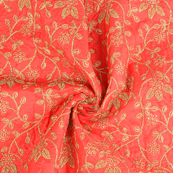 Red and Golden leaf Design Paper Silk Embroidery Fabric-60605
